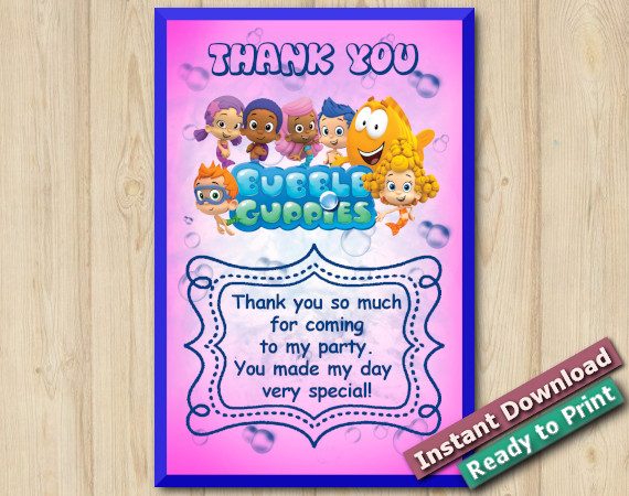 Instant Download Bubble Guppies Thank you Card 4x6