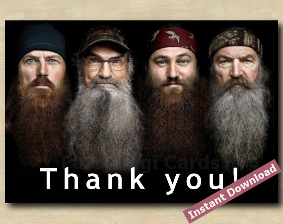 Instant Download Duck Dynasty Thank You Card 4x6