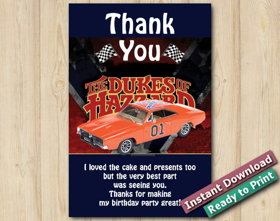 Instant Download Dukes of Hazzard Thank you 4x6