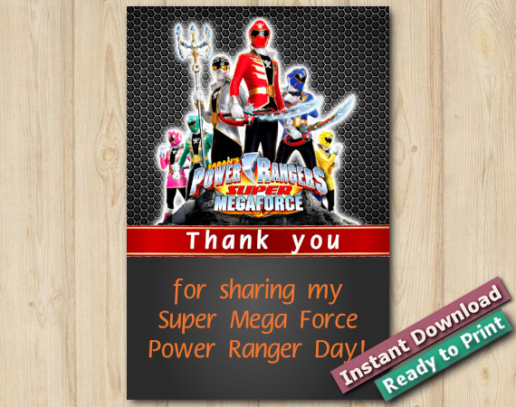 Instant Download Power Ranger Thank You 5x7