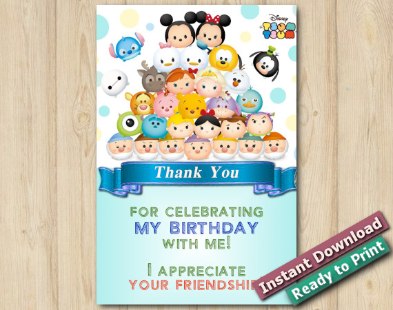 Instant Download Tsum Tsum Thank you 5x7