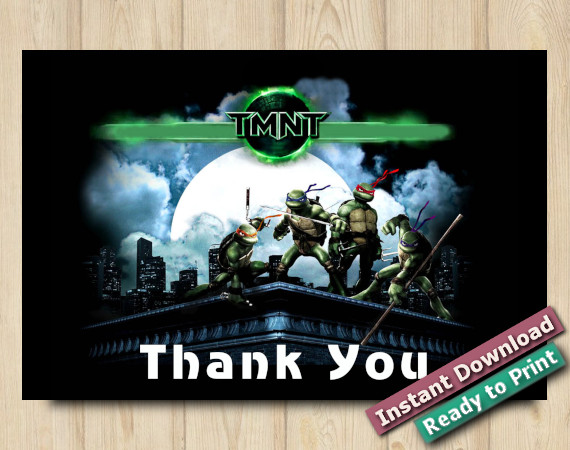 Instant Download TMNT Thank You card 4x6