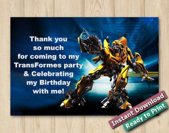 Instant Download Transformers Thank You Card 5x7