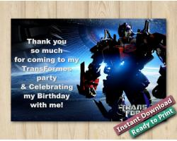 Transformers Thank You Card 5x7