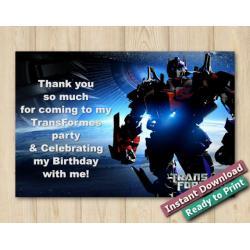 Transformers Thank You Card 5x7