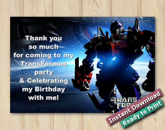 Instant Download Transformers Thank You Card 4x6