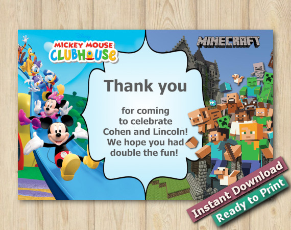 Instant Download Twin Mickey Mouse and Minecraft Thank you 5x7