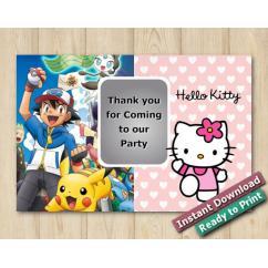 Twin Pokemon and Hello Kitty Thank you 5x7