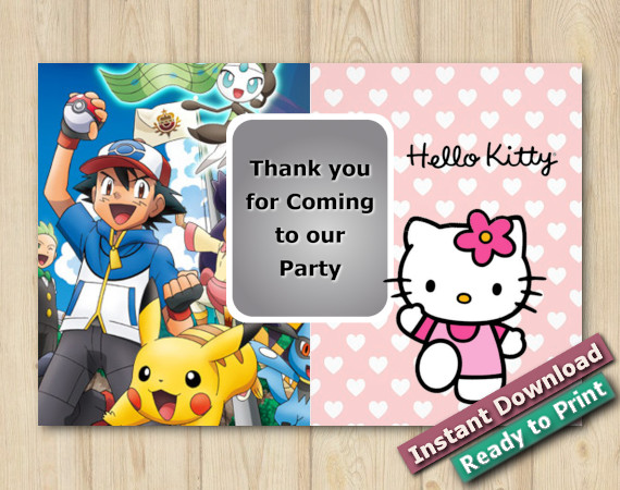 Instant Download Twin Pokemon and Hello Kitty Thank you 5x7