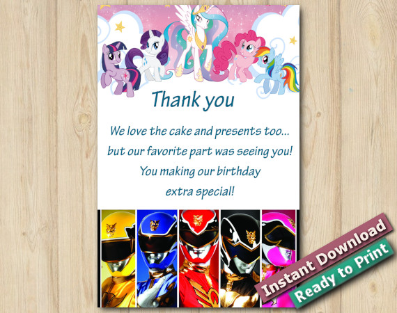 Instant Download Twin My Little Pony and Power Ranger 4x6