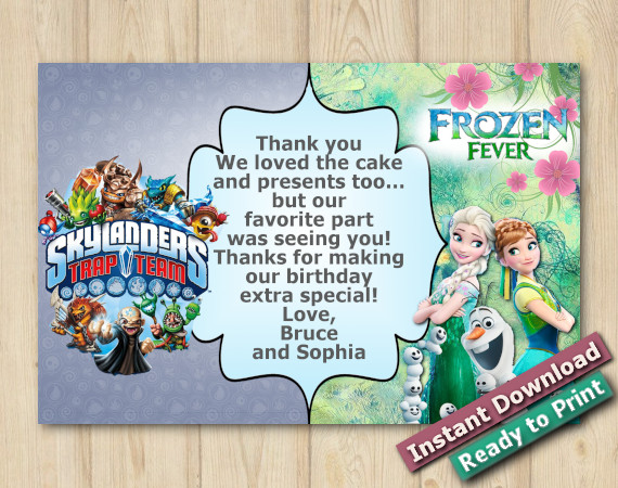 Instant Download Twin Frozen Fever and Skylanders Thank you Card 5x7