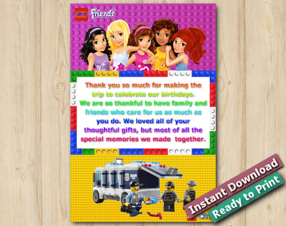 Instant Download Twin Lego Friends and Lego Police Thank you Card 5x7