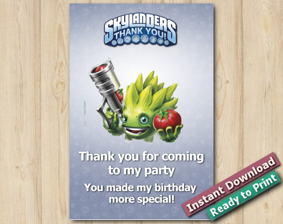 Instant Download Skylanders Thank you Card 4x6