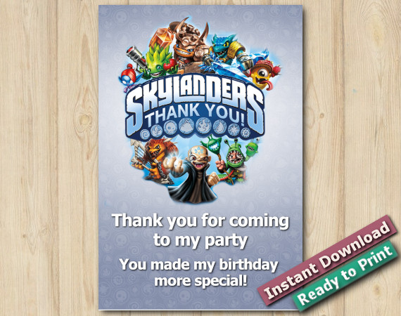 Instant Download Skylanders Thank you Card 4x6