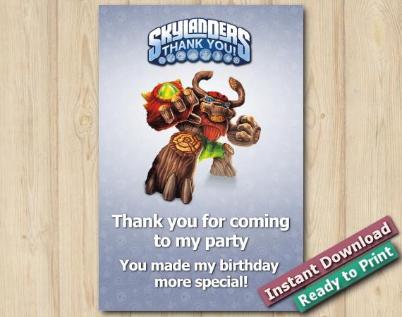 Instant Download Skylanders Thank you Card 5x7