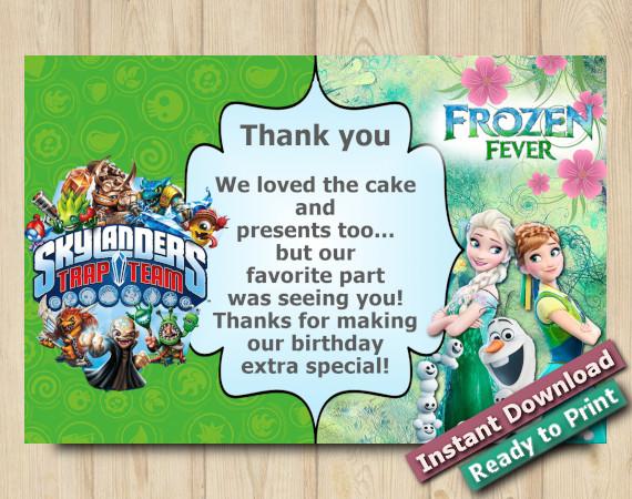 Instant Download Frozen Fever Skylanders Thank you Card 5x7
