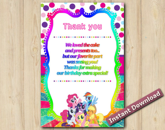 Instant Download My Little pony Thank You Card 5x7