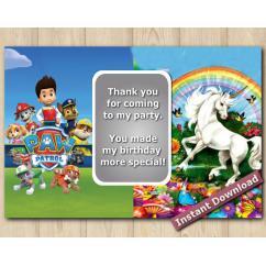 Twin Paw Patrol Unicorn Thank You 5x7