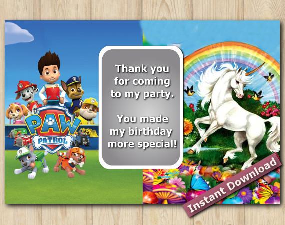 Instant Download Twin Paw Patrol Unicorn Thank You 5x7