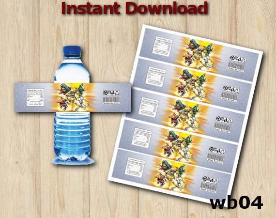Downloadable Printable Skylanders  Water Bottle Labels