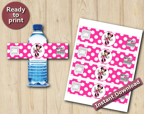 Instant Download Minnie Mouse  Water Bottle Labels
