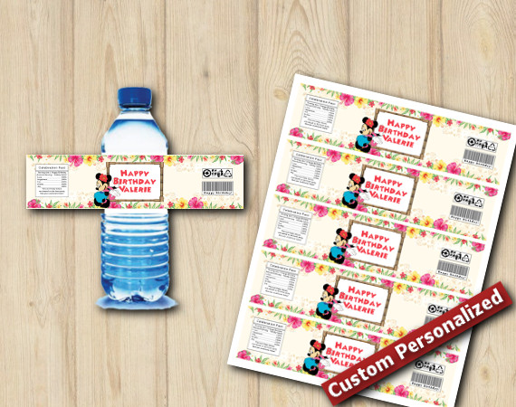Instant Download Minnie Mouse Luau Water Bottle Labels