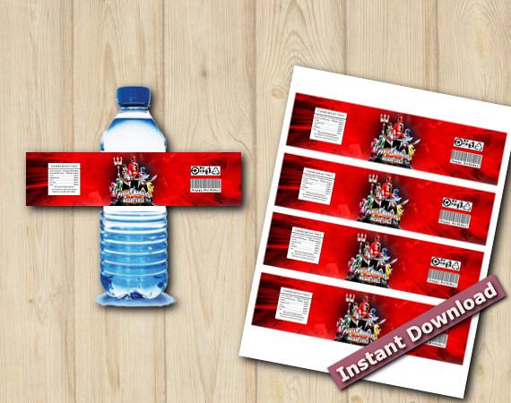 Instant Download Power Rangers Water Bottle Labbels