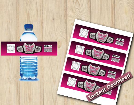 Instant Download WWE Water Bottle Labels