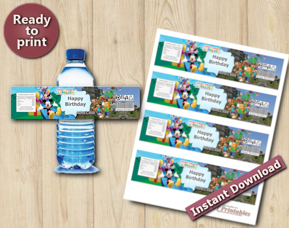 Instant Download Twin Mickey Mouse And Minecraft  Water Bottle Labels