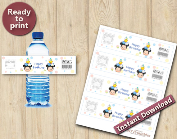 Instant Download Tsum Tsum Water Bottle Labels