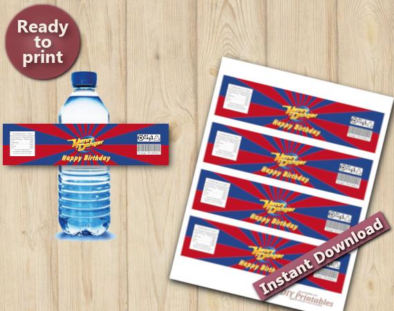 Instant Download Henry Danger Water Bottle labels