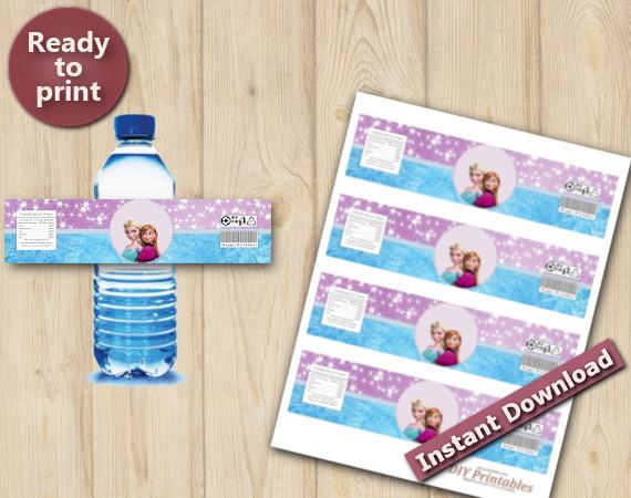 Instant Download Frozen Water Bottle Labels