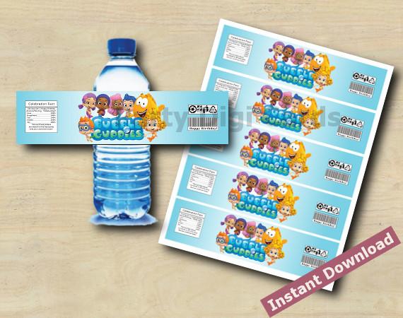 Instant Download Bubble Guppies Water Bottle Labels