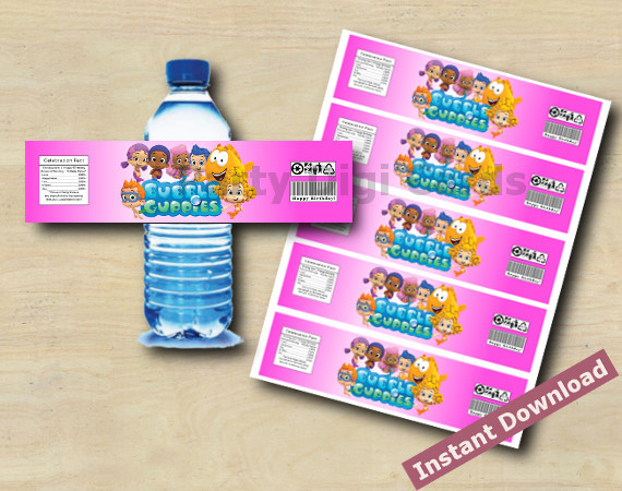 Instant Download Bubble Guppies Water Bottle Labels
