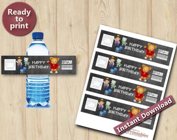 Instant Download Daniel Tiger Water Bottle Labels