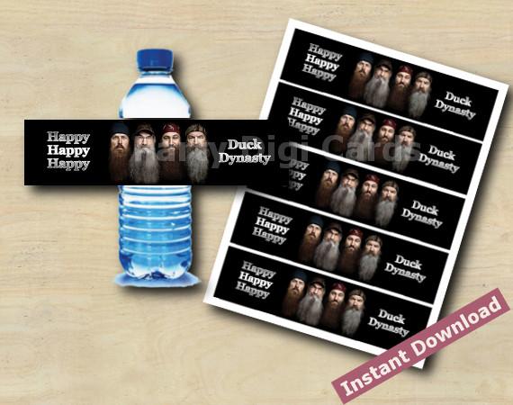 Instant Download Duck Dynasty Water Bottle Label