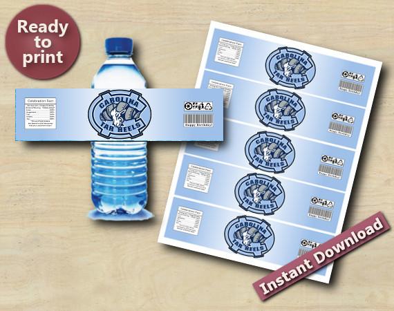 Instant Download North Carolina Tarheels Tiger Water Bottle Labels