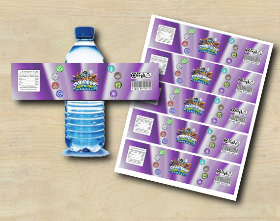Instant Download Skylanders Water Bottle Labels