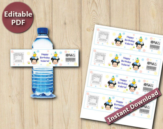 Tsum Tsum Water Bottle Labels / Wrappers | Instant Download