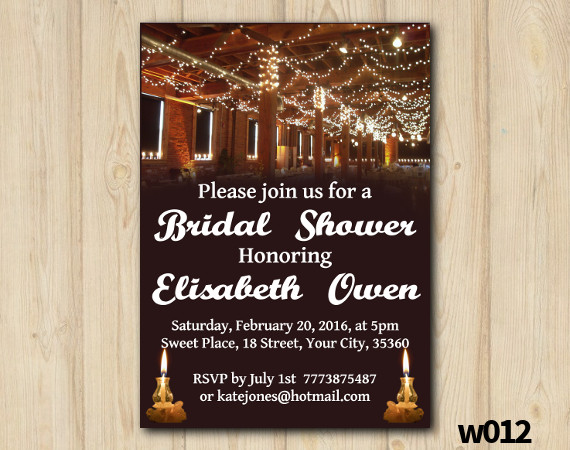 String Lights Bridal Shower Invitation   Personalized Digital Card