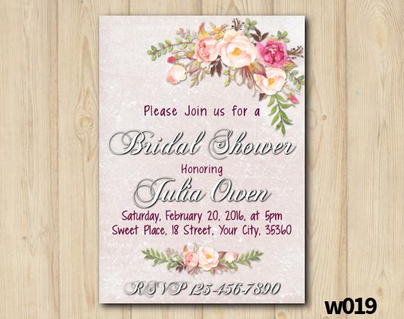 Watercolor Bridal Shower Invitation   Personalized Digital Card