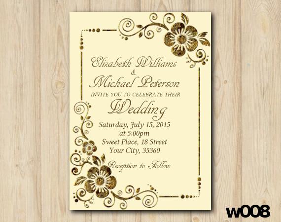 Gold Floral Wedding invitation | Personalized Digital Card