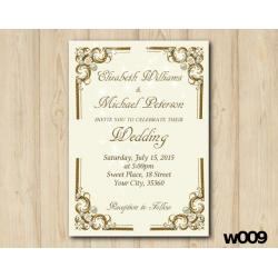 Gold and Pearls Wedding invitation