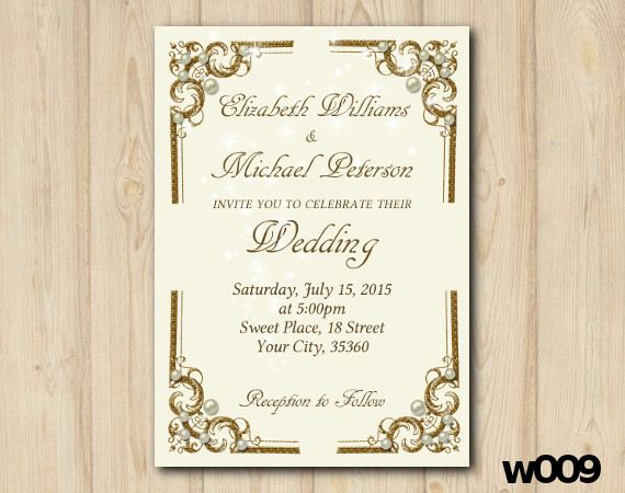 Gold and Pearls Wedding invitation   Personalized Digital Card