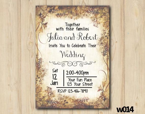 Retro Wedding Invitation   Personalized Digital Card