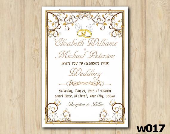 Gold Ornament Wedding Invitation | Personalized Digital Card