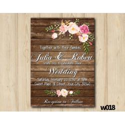 Watercolor Wood Wedding Wedding Invitation