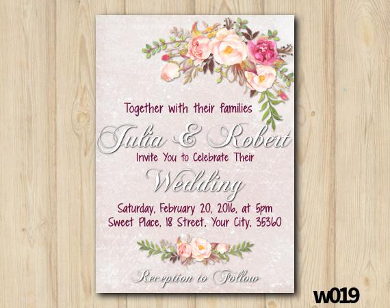 Watercolor Wedding Invitation | Personalized Digital Card