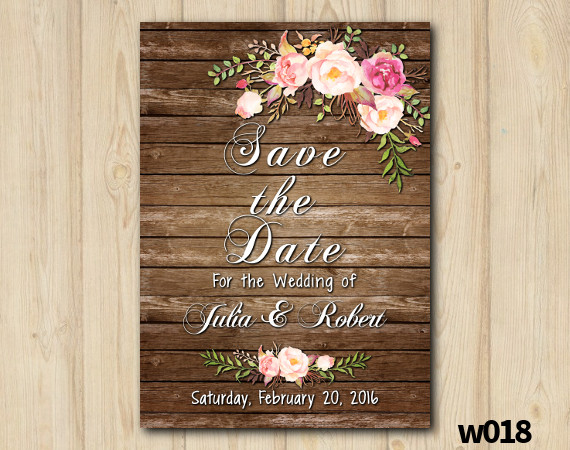Watercolor Wood Wedding Save the Date | Personalized Digital Card