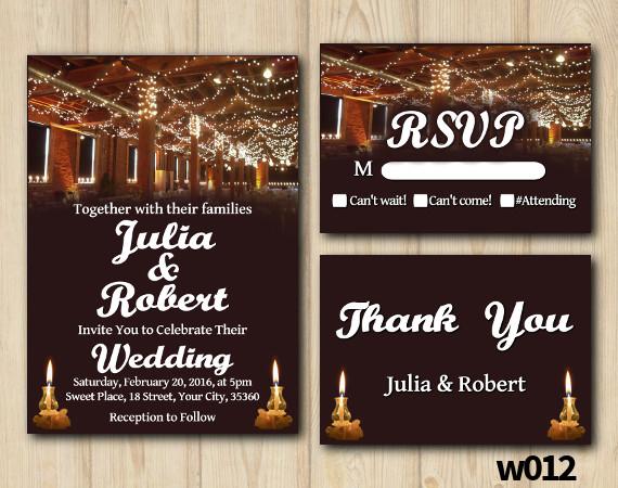 String Lights Wedding Set | Personalized Digital Card